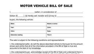 General bill of sale for Tennessee motor vehicle bill of sale form